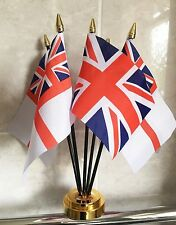 BRITISH ROYAL NAVY WHITE ENSIGN X4 & UNION JACK TABLE FLAG SET 5 flags GOLD BASE