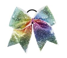 "NEW ""FANCY SEQUIN Rainbow"" Cheer Bow Pony Tail 3"" Ribbon Girls Hair Cheerleading"