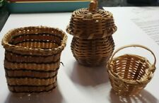 3x Vintage Native Hand Woven / Made Baskets In Mint Condition