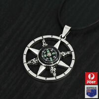 Vintage Mens Working Nautical Compass Necklace Pendant Stainless Steel