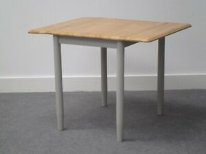 Kyla Grey Painted Solid Wood Rectangle Drop Leaf extending Dining Table 97 X 76
