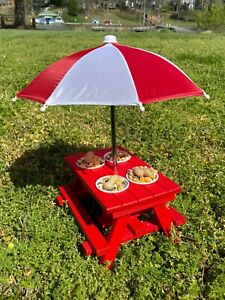 Squirrel Feeder Picnic Table With Complimentary Umbrella And Mini Red Solo Cups