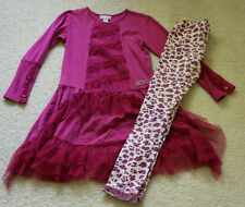 Naartjie Girls Size 7 Outfit Holiday Pretty Netting Trimmed Dress Print Leggings