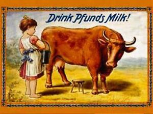 """Kult-Magnet """"Drink Pfunds Milk!"""" Mädchen mit Kuh  (NEU & OVP)"""