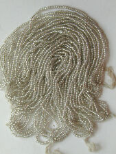 Vintage Antique Silver Glass Seed Beads FOUR Mini Hanks for Jewelry Design Bling