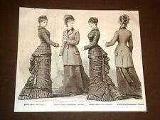 Moda e costume in Italia nel 1878 Abito corto e paltò di drap matelasse donna