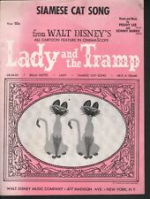 Siamese Cat Song 1952 Lady and the Tramp Sheet Music