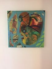Modernist Modern Painting Expressionist Multi Media Scuba Patrol Rare Abstract
