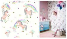 Rainbow Unicorn Girls White Glitter Childrens Wallpaper Arthouse 696109