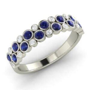 1.00 Ct Blue Sapphire Eternity Engagement Ring 14K White Gold Diamond Size N O P