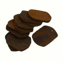 Brown Leather Rectangle Tag Charm/Backings 29x22mm Pack of 10 (P21/4)