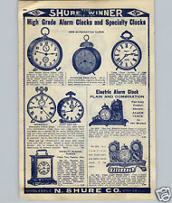 1908 PAPER AD Electric Alarm Bank Clock Flash Light Spasmodic New Haven