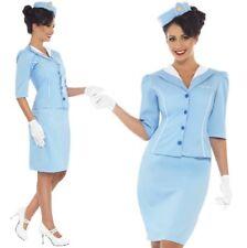 Ladies Fancy Dress Air Hostess Cabin Crew Costume Light Blue New by Smiffys