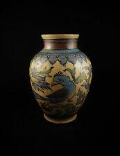 Vase en céramique siliceuse Perse Iran Décor floral animalier Parfait état