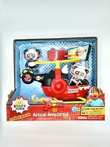 """Jada Toys Ryan's World Helicopter with Combo Panda Figure 6"""" Feature Vehicle Red"""