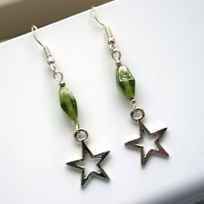965db7070 Star Earrings With Sterling Silver Hooks & Green Indian Glass Beads LB262