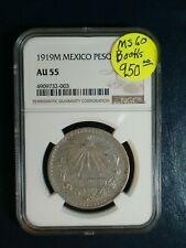 1919 M Mexico One Peso NGC AU55 SILVER 1P Coin PRICED TO SELL!