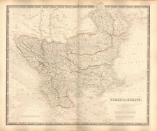 1844 LARGE ANTIQUE MAP- JOHNSTON - TURKEY IN EUROPE