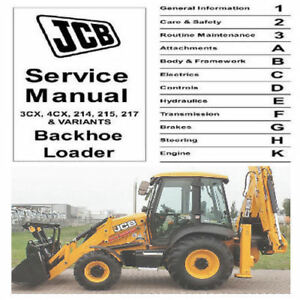 JCB 3CX 4CX 214 215 217 BackHoe Loader & 444 Dieselmax ,  Service Manual CD !!