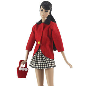 """Red Fashion Doll Clothes for 11.5"""" Doll Accessories Outfits Coat Bag Plaid Skirt"""