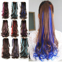 Ombre Long Wavy Ponytail Clip in Hair Piece Wrap Around Pony Tail Hair Extension