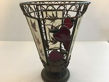 Vintage Tall Pedestal Stained Glass Apples & Solid Brass Votive Candle Holder