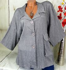 Cara.C. Jacke Tunika Bluse Kleid Shirt Kurz Lagenlook Top Longshirt Grau 50 52
