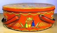 Vintage 1950's Cookie Biscuit Sewing Tin with handles Pennsylvania Dutch Amish