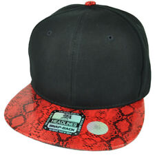 Black Red Faux Snake Skin Pattern Visor Hat Cap Blank Plain Solid Snapback