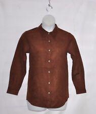 Joan Rivers Long Sleeve Faux Suede Boyfriend Shirt Size S Saddle Brown