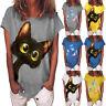 UK Womens Casual Short Sleeve Cat T Shirt Blouse Ladies V Neck Tops Summer Tee