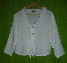 COMPLETO by ARTHURIO White Linen Shirt Blouse with Ruffle Detail Size M
