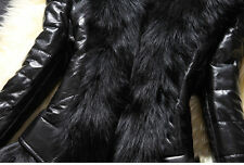 Winter Womens Leather Thick Jacket Fur Collar Cardigan Coat Overcoat Parka L3^