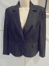 BASQUE SIZE 14 BLACK GREY PIN STRIPE SATIN LINED JACKET 'PERFECT' STYLISH