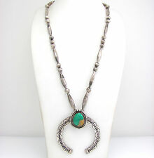 Vintage Navajo Handmade Sterling Silver Turquoise Naja Pendant Bead Necklace | G