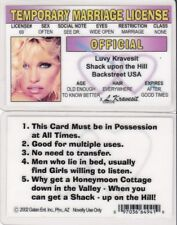 Temorary Marriage License Luvy Kravesit I.D card Drivers driver's lisence