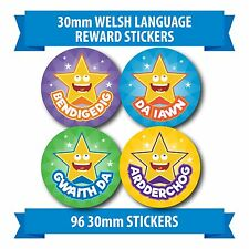 "96 30mm ""WELSH LANGAUGE"" childrens reward stickers children"