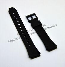 Compatible Casio F-201 , F-201WA  18mm Rubber Black Watch Band - Strap