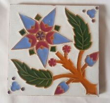 BEAUTIFUL 19TH CENTURY 6 INCH MAJOLICA TILE MAW & CO STUNNING FLORAL DESIGN
