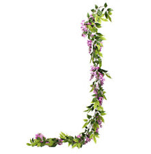 Artificial Trailing Pink Wisteria Garland Realistic Flowering Faux Plant 7ft