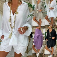 Women Summer Button Down Shirt Loose V- Neck Long Sleeve Oversize Blouse Tops UK