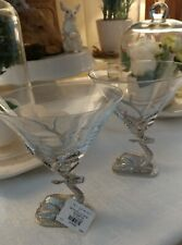 Pottery Barn Stag Martini Glasses (2) With Tag