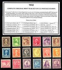 1932 COMPLETE COMMEMORATIVE YEAR SET OF MINT -MNH- VINTAGE U.S. POSTAGE STAMPS