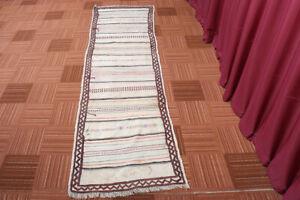 Vintage Beige Oriental Flat Weave Handmade Wool Kilim Runner 2x8 Area Rug Carpet
