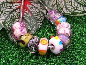 Mixed Design Lampwork Glass S925 Sterling Silver European Bead Charm - Qty. 12
