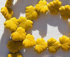 (10) Czech Glass 13x11mm Maple Leaf Beads-Mustard Opaque CRJ200499