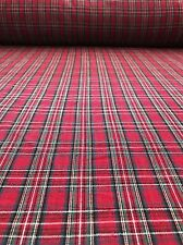 Red Plaid Cotton Fabric BY THE YARD