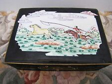 Beautiful Antique Chinese Porcelain Over Copper Enamel Hand-Painted Storage Box