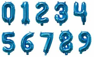 """16"""" 40"""" Blue Letter Number Foil Balloon Mylar Party Birthday Wedding Baby Shower"""