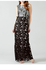 PHASE EIGHT BNWOT 'Candy' Black Silver Sequin Lace Evening Xmas Dress Size 14